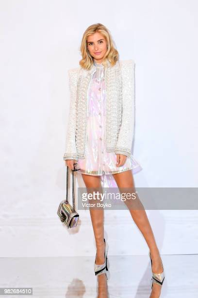 Xenia Adonts attends the Balmain Menswear Spring/Summer 2019 show as part of Paris Fashion Week on June 24, 2018 in Paris, France.