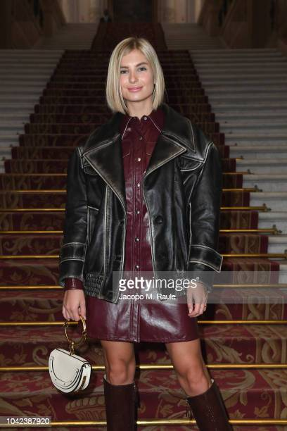 Xenia Adonts attends the Balmain show as part of the Paris Fashion Week Womenswear Spring/Summer 2019 on September 28 2018 in Paris France