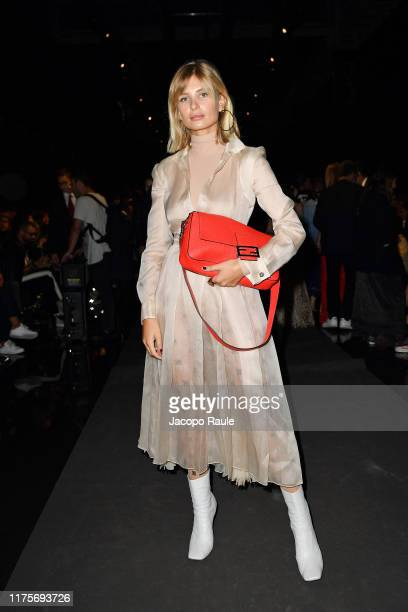 Xenia Adonts attends the Fendi fashion show during the Milan Fashion Week Spring/Summer 2020 on September 19 2019 in Milan Italy