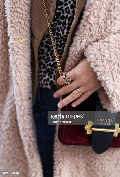Xenia Adonts bag detail from the Prada bag on October 08 2018 in Hamburg
