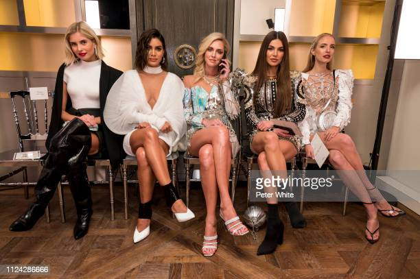 Xenia Adonts Camila Coelho Chiara Ferragni Negin Mirsalehi and Leonie Hanne attend the Balmain Paris Haute Couture Spring Summer 2019 show as part of...
