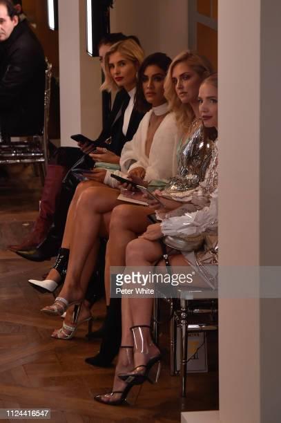 Xenia Adonts Camila Coelho Chiara Ferragni Negin Mirsalehi and Leonie Hanne attend the Balmain Paris Haute Couture Spring Summer 2019 show as part of...