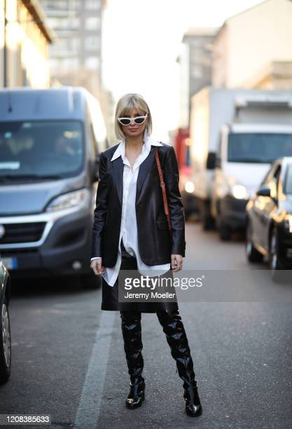Xenia Adonts is seen before Tods during Milan Fashion Week Fall/Winter 2020-2021 on February 21, 2020 in Milan, Italy.