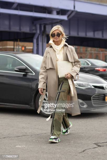 Xenia Adonts is seen on the street during New York Fashion Week AW19 wearing BOSS on February 13 2019 in New York City