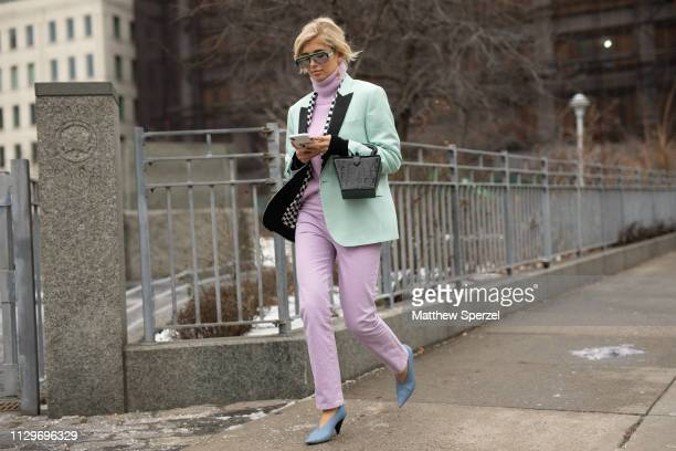 Xenia Adonts is seen on the street during New York Fashion Week AW19 wearing Staud on February 13, 2019 in New York City.