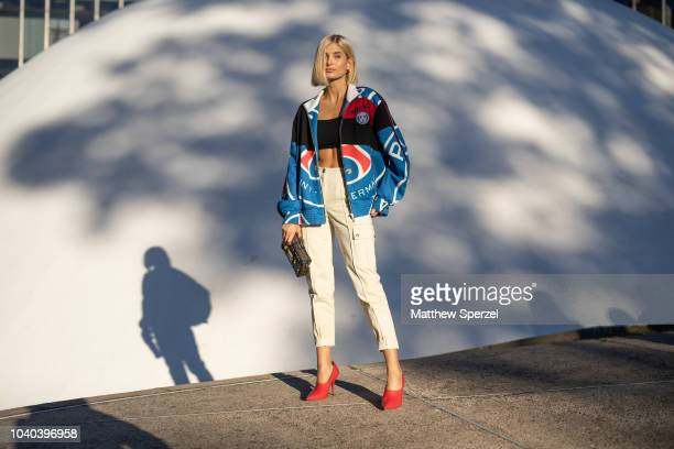 Xenia Adonts is seen on the street during Paris Fashion Week SS19 wearing KochŽ on September 25 2018 in Paris France