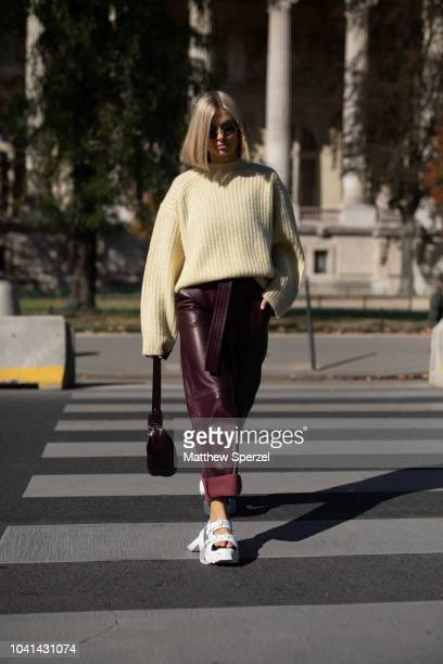 Xenia Adonts is seen on the street during Paris Fashion Week SS19 wearing Maison Margiela on September 26 2018 in Paris France