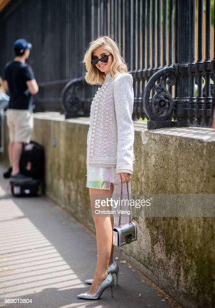 Xenia Adonts is seen outside Balmain on day six of Paris Fashion Week Menswear SS19 on June 24 2018 in Paris France