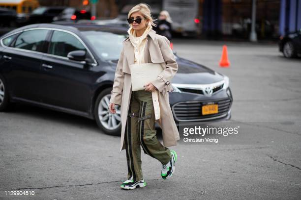 Xenia Adonts is seen outside Boss during New York Fashion Week Autumn Winter 2019 on February 13, 2019 in New York City.