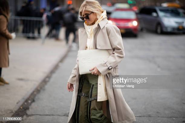 Xenia Adonts is seen outside Boss during New York Fashion Week Autumn Winter 2019 on February 13 2019 in New York City
