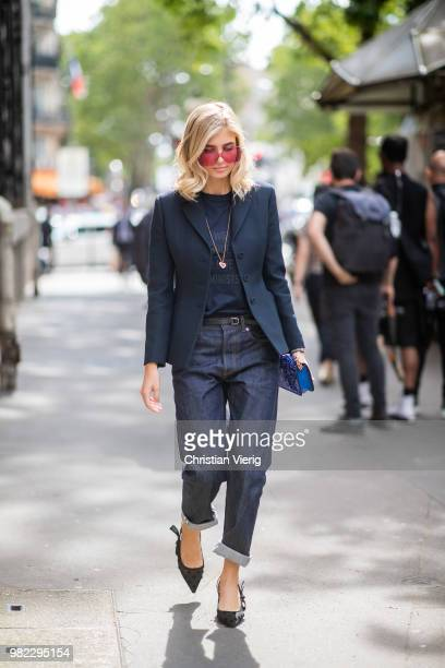 Xenia Adonts is seen outside Dior Homme on day five of Paris Fashion Week Menswear SS19 on June 23 2018 in Paris France