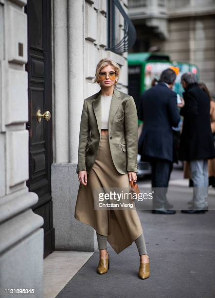 Xenia Adonts is seen outside Ferragamo on Day 4 Milan Fashion Week Autumn/Winter 2019/20 on February 23, 2019 in Milan, Italy.