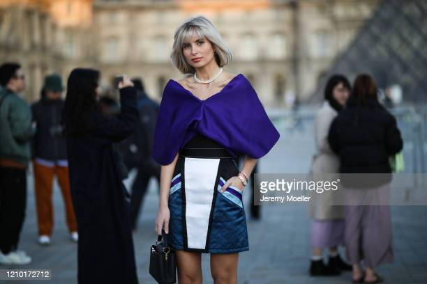 Xenia Adonts is seen outside Louis Vuitton show during Paris Fashion week Womenswear Fall/Winter 2020/2021 Day Nine on March 03 2020 in Paris France