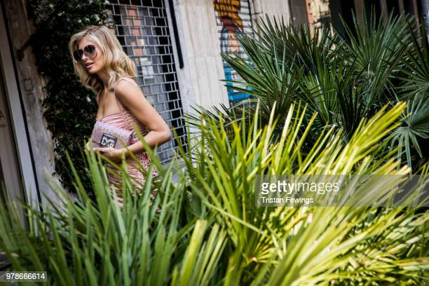 Xenia Adonts is seen outside the Dolce Gabbana show during Milan Men's Fashion Week Spring/Summer 2019 on June 16 2018 in Milan Italy
