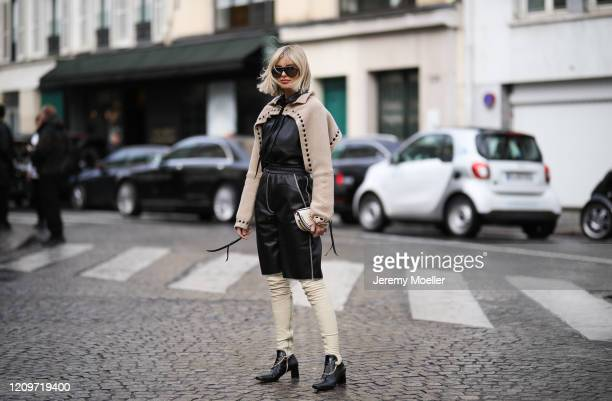 Xenia Adonts is seen wearing a Chloe bag, Tom Ford sunglasses and Altuzarra boots outside Altuzarra show during Paris Fashion week Womenswear...