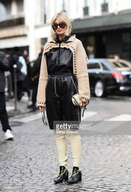 Xenia Adonts is seen wearing an Altuzarra outfit outside the Altuzarra show during Paris Fashion Week: AW20 on February 29, 2020 in Paris, France.