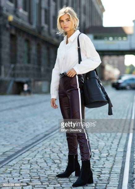 Xenia Adonts poses during the Marc Cain Street Style shooting at WECC on July 3 2018 in Berlin Germany