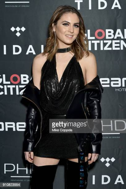 Xenia Ghali attends a preGrammy celebration cohosted by Global Citizen Tidal and French Montana at PhD Rooftop Lounge at Dream Downtown on January 26...