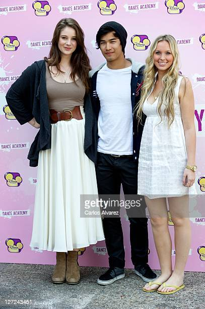 Xenia Goodwin Jordan Rodrigues and Alicia Banit attend Dance Academy photocall on September 27 2011 in Madrid Spain