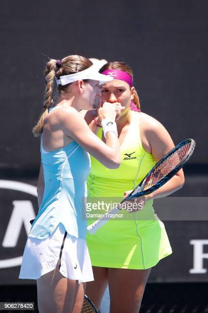 Xenia Knoll of Switzerland and Natela Dzalamidze of Russia compete in their first round women's doubles match against Timea Babos of Hungary and...