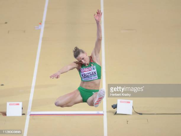 Xenia Krizsan of Hungary competes in the high jump event of the women's pentathlon on March 1 2019 in Glasgow United Kingdom