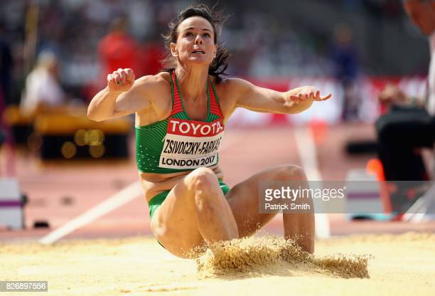 Xenia Krizsan of Hungary competes in the Women's Heptathlon Long Jump competes in the Men's 3000 metres Steeplechase heats during day three of the...