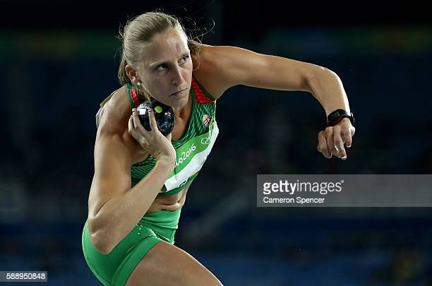 Xenia Krizsan of Hungary competes in the Women's Heptathlon Shot Put on Day 7 of the Rio 2016 Olympic Games at the Olympic Stadium on August 12 2016...