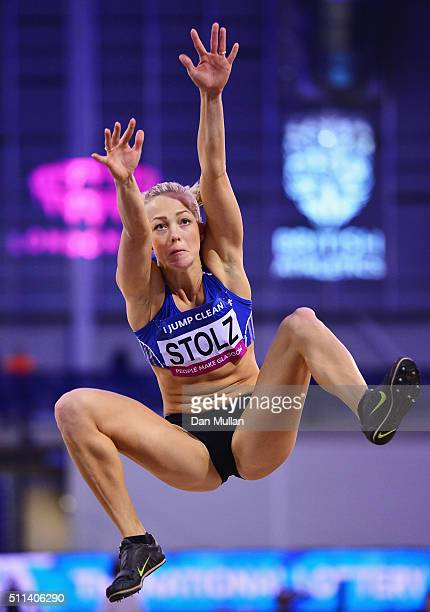 Xenia Stolz of Germany competes in the Women's Long Jump final during the Glasgow Indoor Grand Prix at Emirates Arena on February 20 2016 in Glasgow...