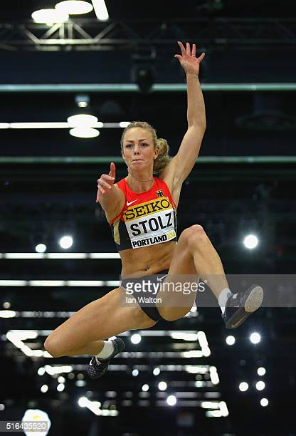 Xenia Stolz of Germany competes in the Women's Long Jump Final during day two of the IAAF World Indoor Championships at Oregon Convention Center on...