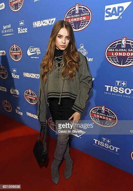 Xenia Tchoumi attends the Denver Nuggets v Indiana Pacers game during NBA Global Games London 2017 at The O2 Arena on January 12 2017 in London...