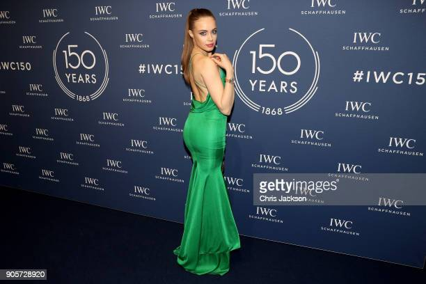 Xenia Tchoumi attends the IWC Schaffhausen Gala celebrating the Maison's 150th anniversary and the launch of its Jubilee Collection at the Salon...