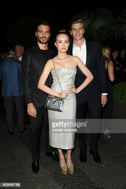 Xenia Tchoumi Giulio Berruti and Toby Huntington Whiteley attend BVLGARI Dinner Party during Milan Fashion Week Spring/Summer 2017 at Bulgari Hotel...
