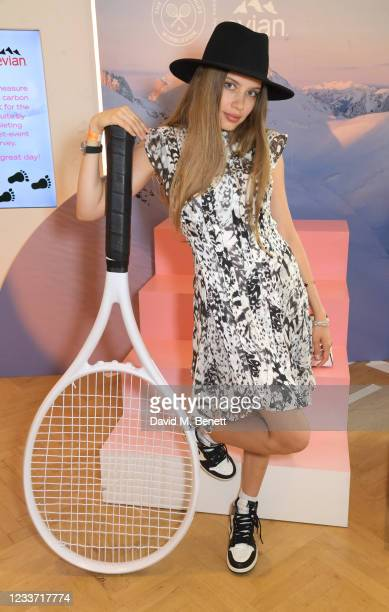 Xenia Tchoumi poses in evian's VIP suite, certified as carbon neutral by The Carbon Trust, during day two of The Championships, Wimbledon 2021 on...