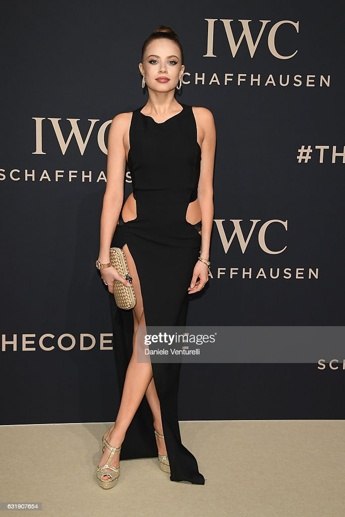 Xenia Tchoumitcheva arrives at IWC Schaffhausen at SIHH 2017 'Decoding the Beauty of Time' Gala Dinner on January 17, 2017 in Geneva, Switzerland.