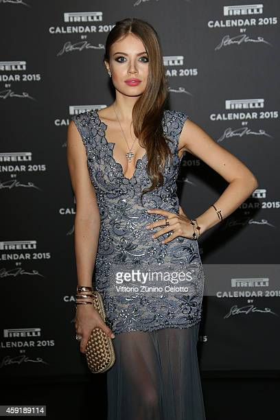 Xenia Tchoumitcheva attends the 2015 Pirelli Calendar Red Carpet on November 18 2014 in Milan Italy