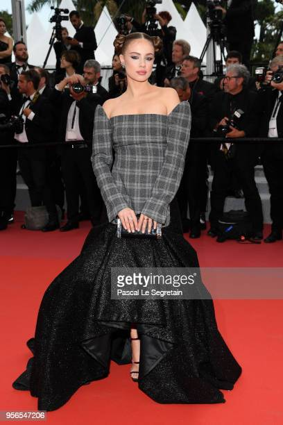 Xenia Tchoumitcheva attends the screening of 'Yomeddine' during the 71st annual Cannes Film Festival at Palais des Festivals on May 9 2018 in Cannes...
