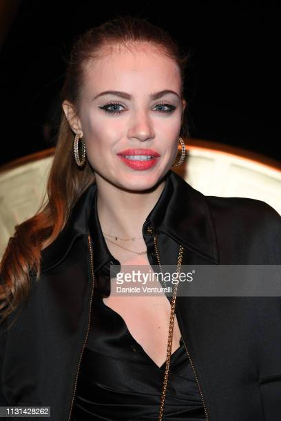 Xenia Tchoumitcheva attends the Versace show at Milan Fashion Week Autumn/Winter 2019/20 on February 22 2019 in Milan Italy