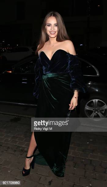 Xenia Tchoumitcheva seen attending the London Fabulous Fund Fair at Roundhouse during LFW February 2018 on February 20 2018 in London England