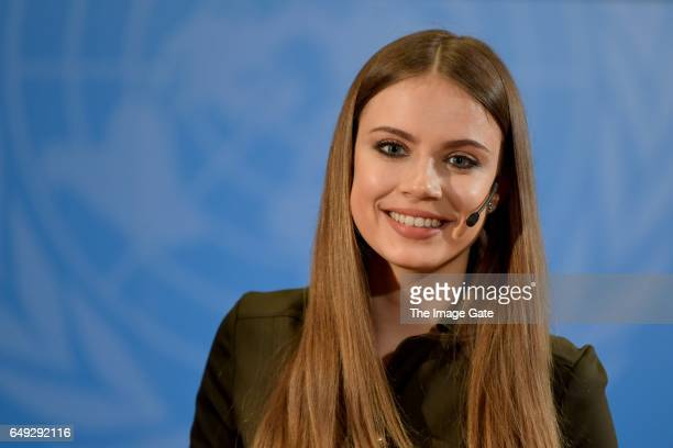 Xenia Tchoumitcheva speaks at the United Nations Office at Geneva on March 7 2017 in Geneva Switzerland To celebrate International Women's Day the...