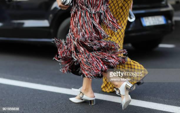 Xenia van der Woodsen and Leonie Hanne wearing a Missoni dress during the Milan Fashion Week on September 23 2017
