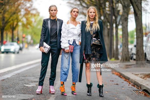 Xenia Van Der Woodsen Camila Carril and Leonie Hanne outside John Galliano during Paris Fashion Week Womenswear Spring/Summer 2018 on October 1 2017...