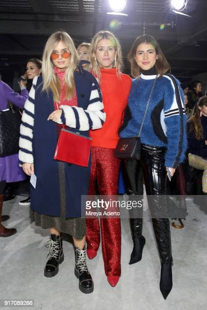 Xenia van der Woodsen Fer Medina and Pam Allier attend the Tibi front row during New York Fashion Week The Shows at Pier 17 on February 11 2018 in...