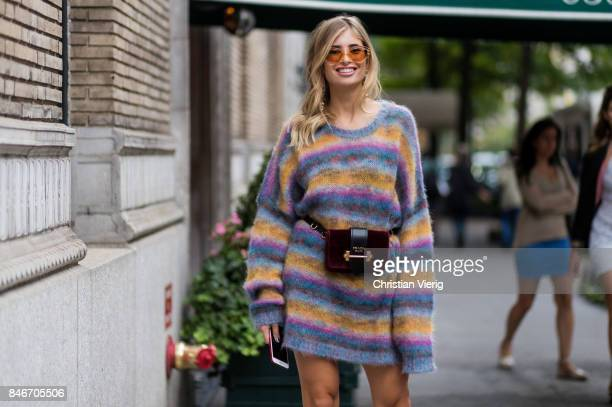 Xenia van der Woodsen wearing a Prada belt bag striped knit seen in the streets of Manhattan outside Marc Jacobs during New York Fashion Week on...