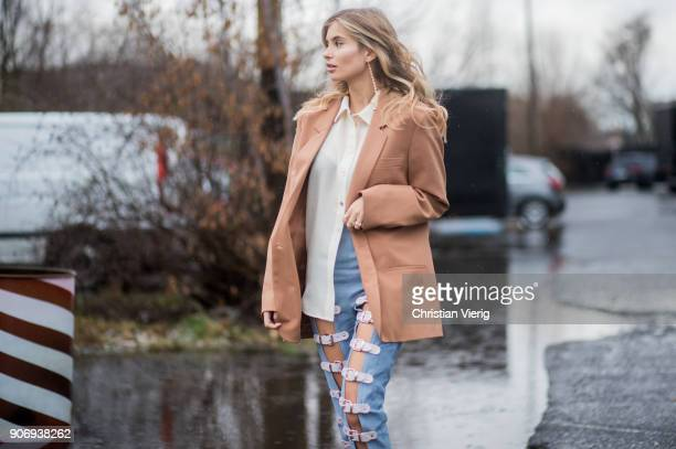Xenia van der Woodsen wearing beige blazer jackett denim jeans is seen outside Marina Hoermanseder during the Berlin Fashion Week January 2018 on...