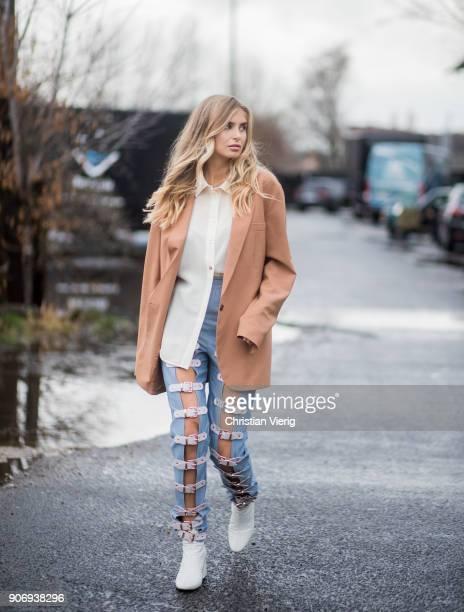 Xenia van der Woodsen wearing beige blazer jackett denim jeans is seen outside Marina Hoermanseder during the Berlin Fashion Week January 2018 on...