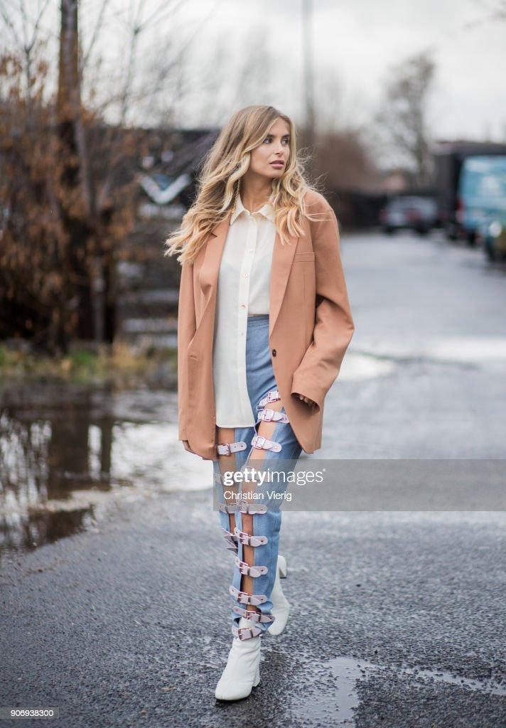 Xenia van der Woodsen wearing beige blazer jackett, denim jeans is seen outside Marina Hoermanseder during the Berlin Fashion Week January 2018 on January 18, 2018 in Berlin, Germany.