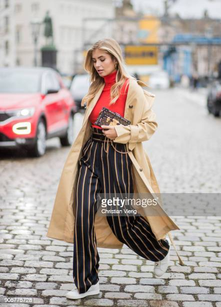 Xenia van der Woodsen wearing Louis Vuitton shoes striped By Malene Birger pants trench coat Topshop Marc Cain top Celine earrings Louis Vuitton...