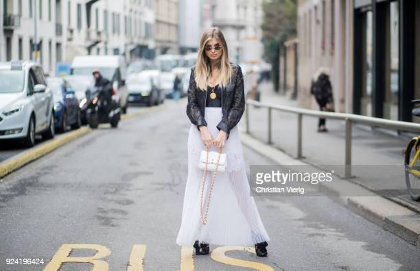 Xenina van der Woodsen wearing white sheer skirt seen outside Ermanno Scervino during Milan Fashion Week Fall/Winter 2018/19 on February 24 2018 in...