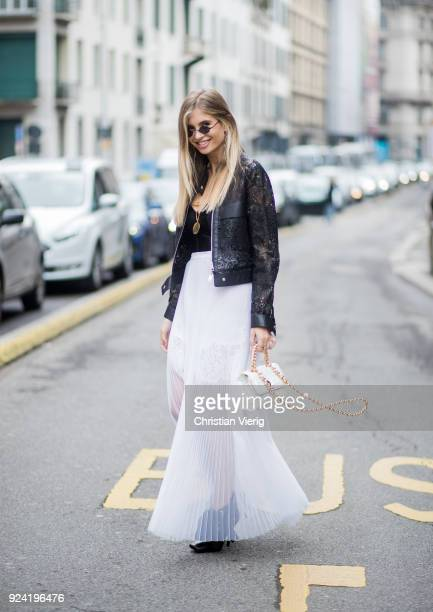 Xenina van der Woodsen wearing white sheer skirt seen outside Ermanno Scervino during Milan Fashion Week Fall/Winter 2018/19 on February 24 2018 in...