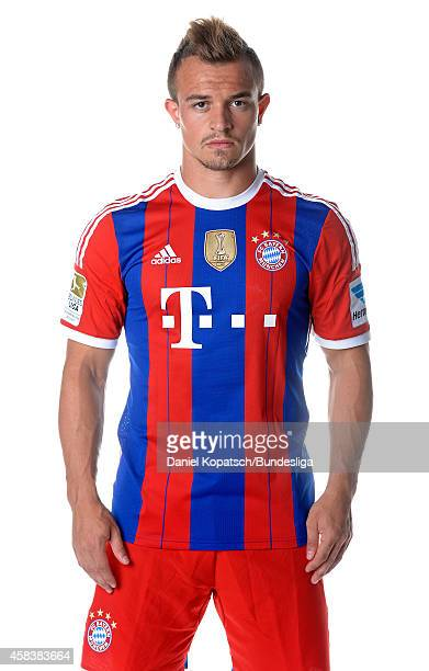 Xerdan Shaqiri poses during the FC Bayern Muenchen Team Presentation for DFL on August 9 2014 in Munich Germany